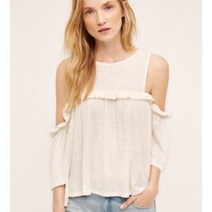 Anthropologie Meadow Rue cold shoulder ruffle top